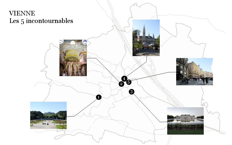 Carte Vienne : Découvrez la majestueuse Vienne avec les 5 immanquables à voir pour une visite expresse.