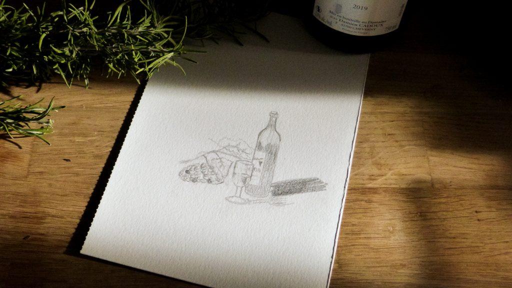 Bouteille vin croquis